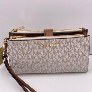 Michael Kors Phone Case Wallet DoubleZip Vanilla